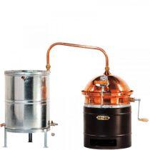 DES Vajdasági pálinkafőző 30L, keverővel, horganyzott, spirálcsöves, 50 L-es hűtővel