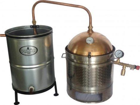 Panka duplafalú 30 L-es pálinkafőző horganyzott, spirálcsöves 50 L-es hűtővel
