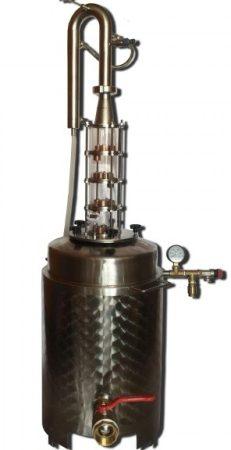 Pálinkafőző 35 L-es, egyutas, aromatornyos, LUX üveg toronnyal