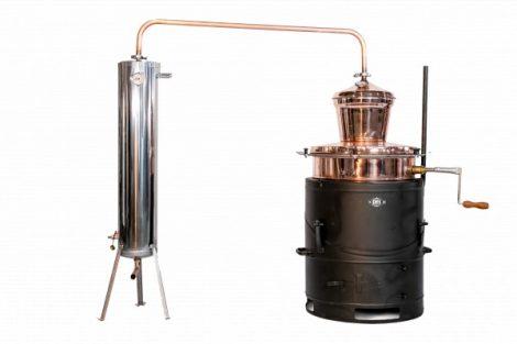 DES pálinkafőző 60 L keverővel, bilincses zárással, inox, csőköteges 30 L-es hűtővel ÚJ! + szeszfokoló