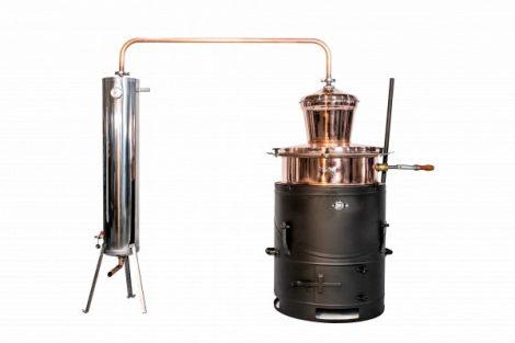 DES pálinkafőző 100 L keverővel, billenős, bilincses zárással, inox, csőköteges 30 L-es hűtővel - ÚJ